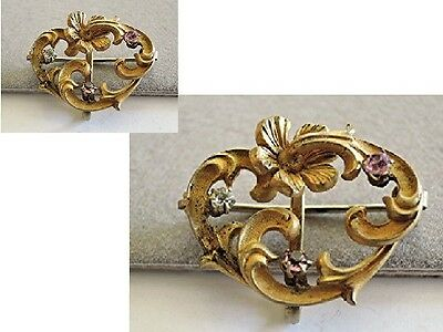 Antique Victorian Yellow Gold Gilded Ladies Watch Fob Pin Ornate & Fancy