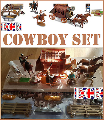 NewRay 1:32 SCALE NEW WESTERN PLAY SET, COWBOYS HORSES WAGON STAGE COACH & MORE