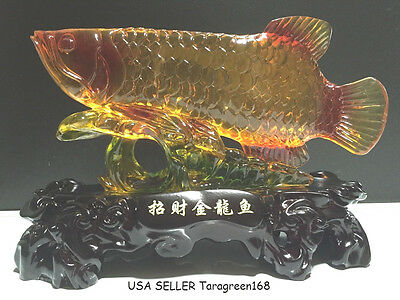 "Feng Shui  Arowana Lucky Fish Attract The Wealth Luck, L 10.6"" x W 4.2"" x H 8.0"""