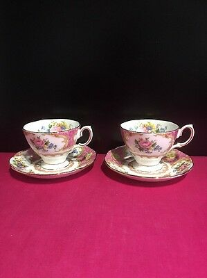 2 Royal Albert Lady Carlyle Coffee Cups & Saucers 1st Quality Last Set Available