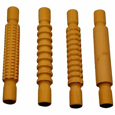 Wooden Patterned Textured Rolling Pin set Pack of 4 Clay Dough Pastry