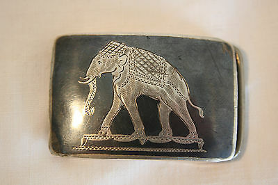 Siamese Silver and enamel neillo half buckle with elephant