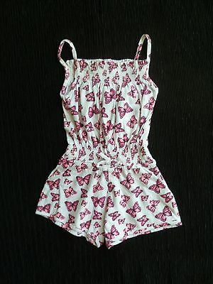 Girls clothing 2 years all-in-ine shorts/dress straps pink/white butterflies