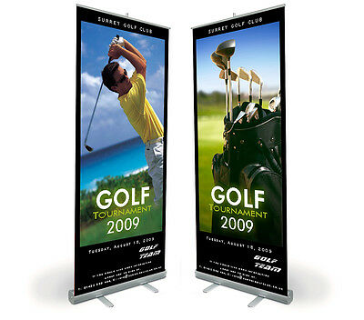 "33"" x 80"" Smooth Banner (ANTI CURL) for Roll Up Stand Display High definition"