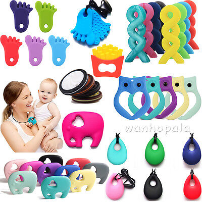 Silicone Teether Nursing Breastfeeding Necklace Chew Chewable Jewelry Beads Toys