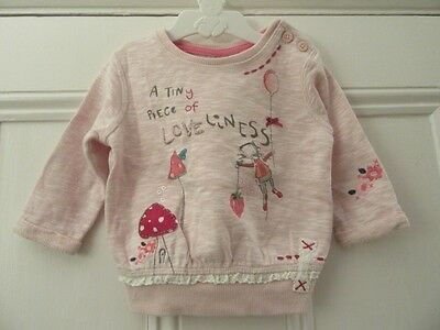 6-9m: Cute top/sweatshirt: Pink + applique mice/ toadstools: Next: Great conditi