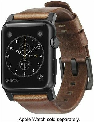 Nomad - Leather Watch Strap for Apple Watch 38mm - Brown with Black Lugs