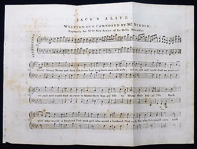 CHARLES DIBDIN GEORGIAN REGENCY PERIOD SHEET MUSIC MUSICAL SCORE c1811