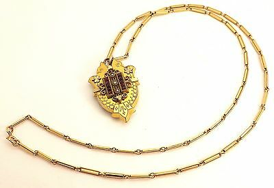 "Circa 1880 Victorian Gold Filled Mourning Locket With 23 1/2"" GF Chain ~Pretty~"