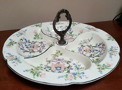 Takahashi Shotun Vintage Porcelain Floral Divided Serving Dish Tray Japan