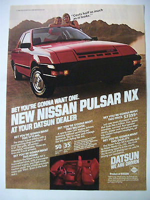 1983 Nissan Pulsar Nx Coupe Usa Magazine Fullpage Colour Advertisement