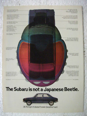 1971 Subaru Is Not A Japanese Beetle Usa Magazine Fullpage Colour Advertisement