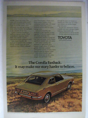 1971 Toyota Corolla Fastback Usa Magazine Fullpage Colour Advertisement