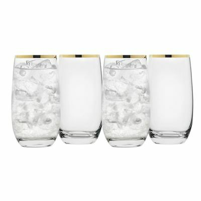 Rona - Selene Gold Rim High Ball Tumbler 490ml Set of 4 (Made in Europe)