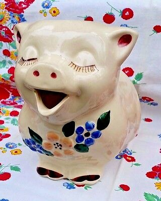 Vintage Shawnee Flowers Pig Made in USA Milk water Pitcher MINT Condition