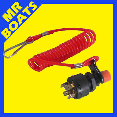 12V SAFETY CUT-OUT IGNITION KILL SWITCH + LANYARD Boat Outboard Engine FREE POST