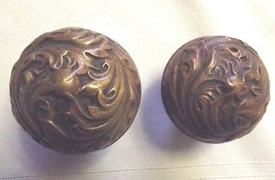 Antique Art Nouveau Brass Door Knobs Florence Pattern By Corbin
