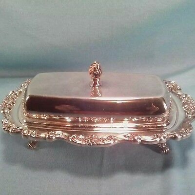 Vintage POOLE SILVER PLATED Footed Butter Dish with Lid LANCASTER ROSE