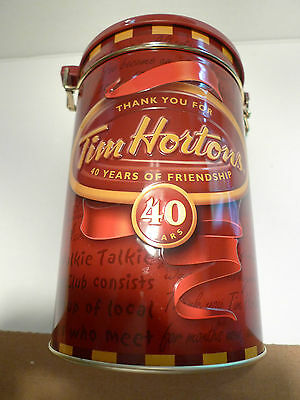 Tim Hortons=  40 Year Anniversary Metal Canister-Excellent-Rarely Used