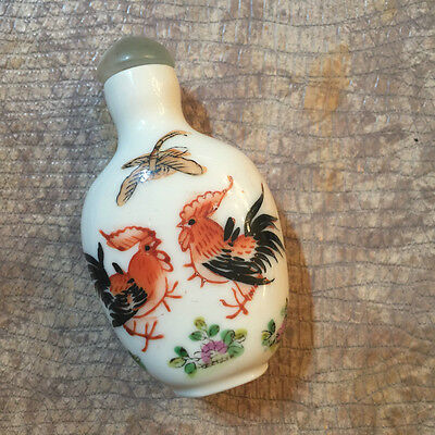Chinese Snuff Bottle, Porcelain, White and Orange