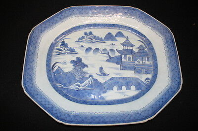 "LARGE Antique 19th Century Chinese Export CANTON Blue 17"" Serving Platter (2)"