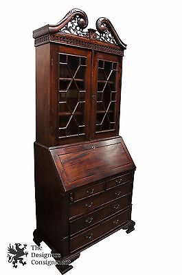 Chippendale Style Bureau Carved Mahogany Secretary Desk Glass Front Bookcase 92""