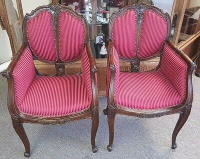 Circa 1740 Very Rare Queen Anne Parlor pair Antique chairs Hand Carved walnut