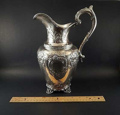 Antique 19th C. American Coin Silver Water Pitcher Wood & Hughes New York 11.5""