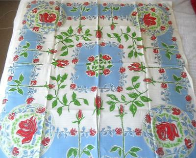 Unused Vintage Retro 1950's Printed Rayon Table Cloth Red Roses