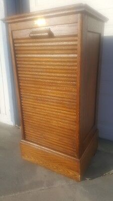 Antique Oak Slide Down Tambour File Cabinet with Unusual Lectern Top & Drawers