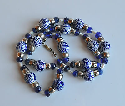 Vintage Chinese Porcelain With Chinese Characters Cobalt Glass Pearls Necklace