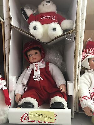 Coca-Cola Doll,danbury Mint,christopher With Sled  And Bear..