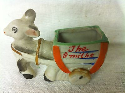 Vintage Porcelain Miniature Donkey pulling Cart Made in Japan 'The Smith's
