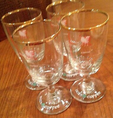 Set Of 4Irish Whiskey Glasses with Recipe and Measure levels on glass  gold trim