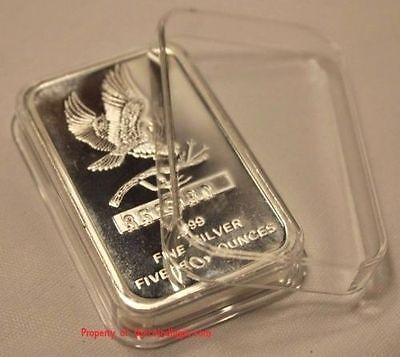 2 AIR-TITE Direct Fit Capsule for 5oz Silver Bar Holder Acrylic Case Airtite