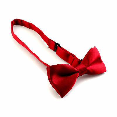 Kids Boys Butterfly Solid Pre-tied Bow Tie Bowtie Wedding Party Prom + Buckle