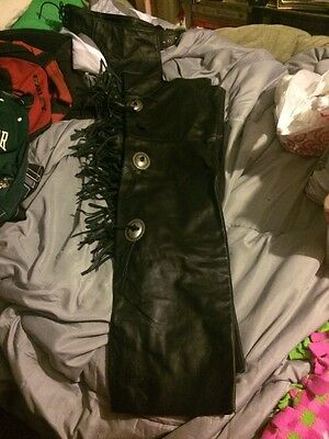Black Leather Chaps With Silver Decorations& Matching Buckle, Fringe Too
