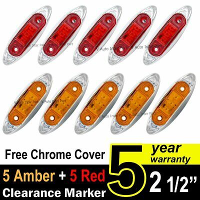 5X Amber 5X Red Truck Trailer Fish Shape Side Marker Clearance Lamp Chrome 3 LED