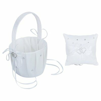 Double Heart Crystal Wedding Pocket Ring Pillow Cushion+Flower Girl Basket I9C3