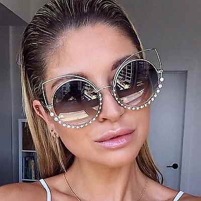 Cat Eye Women Fashion Sunglasses Gradient Lens Round Oversized Frame Diamonds