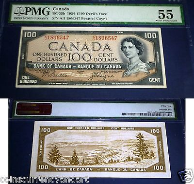 1954 $100 Devil's Face . Bank of Canada Beattie / Coyne BC-35b - PMG 55 AU