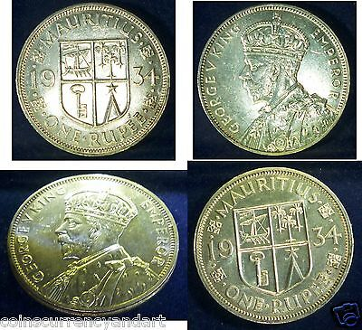 Mauritius 1934 Silver One  Rupee ,High Grade Uncirculated