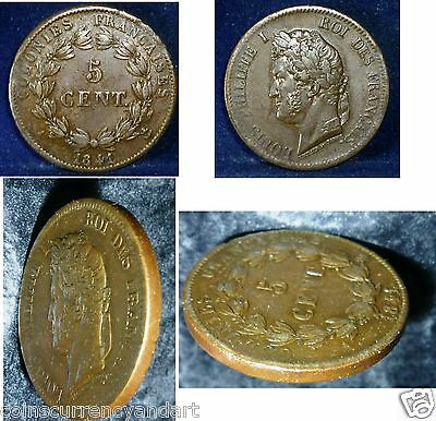 FRENCH COLONIES, 5 Centimes, 1841,  KM #12 ,High Grade