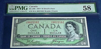 H/A Prefix . DEVILS FACE Bank of Canada 1954 $1 , PMG 58  Beattie - Coyne