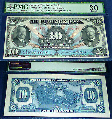 The Dominion Bank $10 1931, PMG 30.Lovely Banknote -AMAZING COLOURS