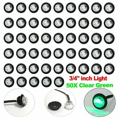 """50X 3/4"""" Bullet Clear Green Round Clearance Side Marker Truck Trailer LED Light"""