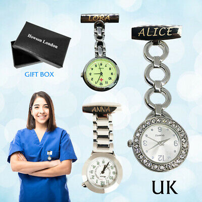 Personalised Engraved Nurse Watch Diamante Fob Carer Graduation Custom Gift Name