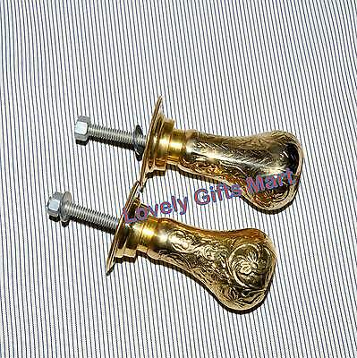 Antique Solid Brass Door Handles Knobs Architectural Vintage with Plates  #