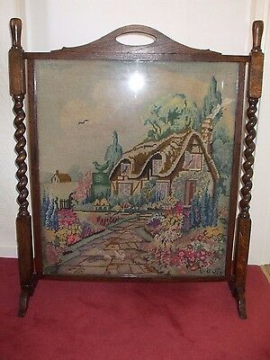 Antique Oak Barley Twist Embroidered Fire Screen - Stunning!!!