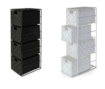 4 Drawer Woven Nylon Home Storage Cabinet Metal Frame Available in Black n White